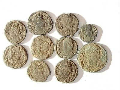 10 ANCIENT ROMAN COINS AE3 - Uncleaned and As Found! - Unique Lot 15429