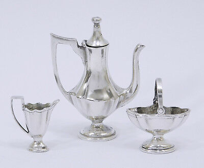 WILLIAM B. MEYERS STERLING SILVER GEO.II  3 Piece COFFEE SET DOLLHOUSE MINIATURE