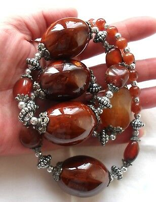 139.5 gr Huge Antique Olive Necklace in Amber look with Carnelian