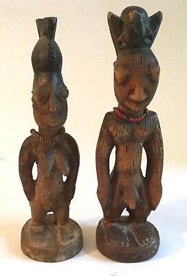 Old African Tribal Carved Wood Sculptures Man & Woman