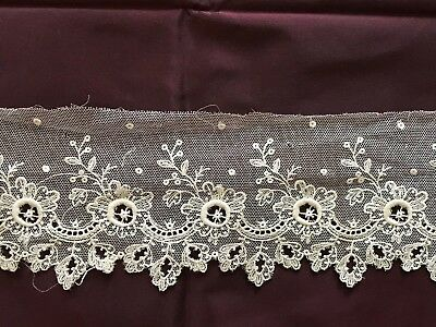 """EMBROIDERY ON TULLE LACE EDGING TRIM  - Floral design 33"""" by  3"""""""
