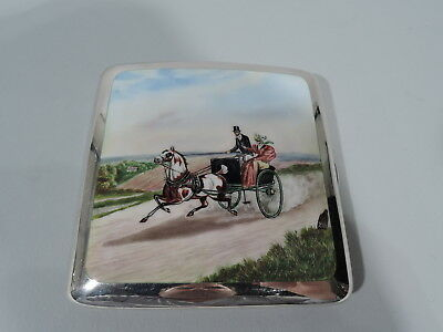 Edwardian Case - Antique Regency Coaching Days - English Sterling Silver Enamel