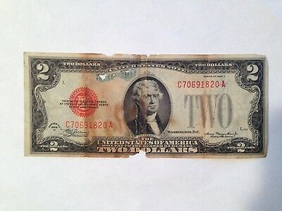 1928 D $2 Bill Red Seal Note Currency United States Dollar Legal Tender