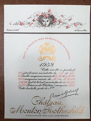 Chateau Mouton Rothschild 1952 - Wine Label