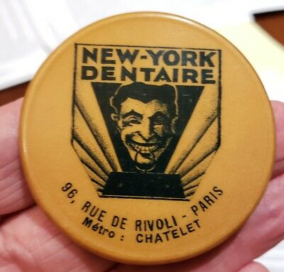 NEW-YORK DENTAIRE w/ DEVIL Paris Pocket Advertising Mirror