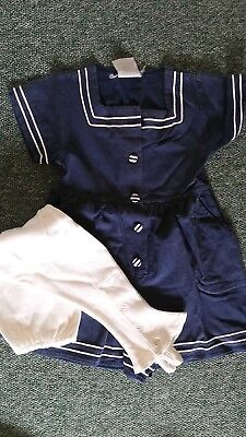 very rare girls vintage sailor bathing dress and buttoned leggings age 2 years