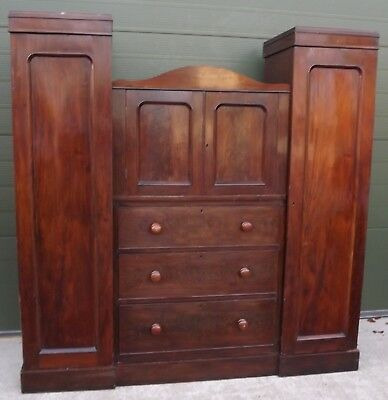 Antique William IV Flame Mahogany Compactum Wardrobe with Drawers