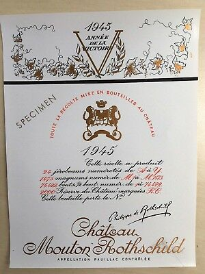Chateau Mouton Rothschild 1945 (Specimen) - Wine Label
