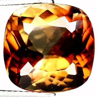 "NATURAL CUSHION-CUT TOP IMPERIAL TOPAZ GEMSTONE LOOSE 13.1 x 12.9 mm ""WITH COA"""
