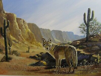 Desert Coyote in Superstition Mountain 16 x 20 Acyrlic Original Masterpiece
