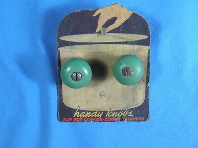 "Lot Of Two (2) Vintage Green Wooden ""Handy Knobs"" - On Retail Card"