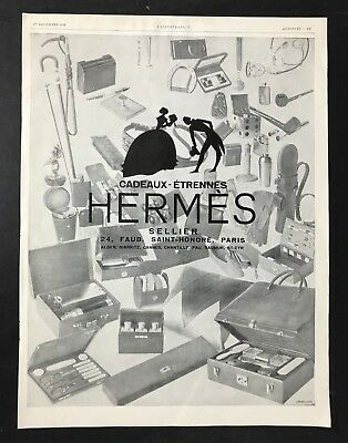 Vintage 1920s FRENCH Leather Goods Ad -  HERMES - Ideal for Framing