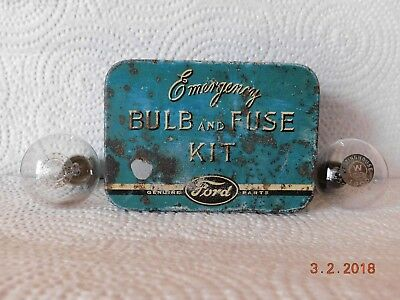 Genuine Vintage Ford Emergency Bulb and Fuse Kit Tin ++ 2 Old Automobile Bulbs