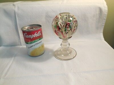 Antique Footed LG Paperweight Wig Stand Pedestal Wafer Joined Beautiful