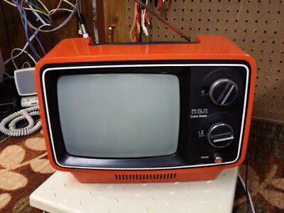 "RETRO ORANGE -VINTAGE RCA PORTABLE TELEVISION- ""Sportable"" series"