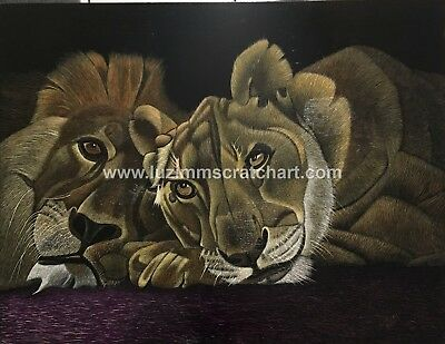 Wildlife Lion Tiger ORIGINAL signed ScratchArt Ampersand 14x18x1/8in by LuZimm
