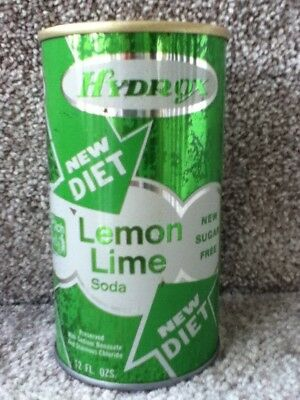 Hydrox new diet Lemon Lime. Straight steel, pull top. No bar code or ml listed.