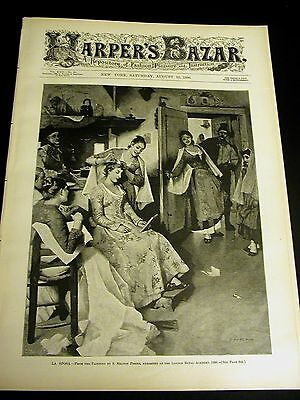 Harper's Bazar - 8-16 1890 Very Fine w VICTORIAN  JACKET CHEMISE PATTERNS Piano
