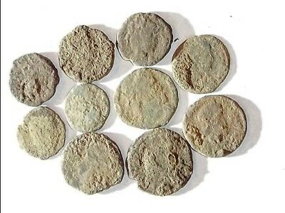 10 ANCIENT ROMAN COINS AE3 - Uncleaned and As Found! - Unique Lot X15428