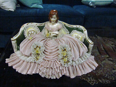 "6"" Tall 11"" Long Porcelain Figurine On Couch Germany ?  Gold Trimmed Lace   #4"