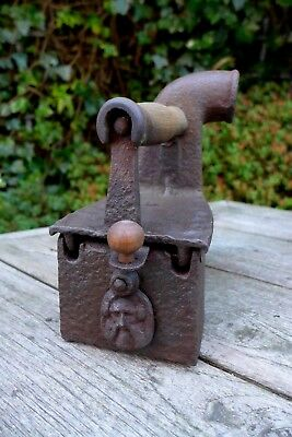 Antique Charcoal Clothing Iron Chimney Wooden Handle Decorative Cover Collector