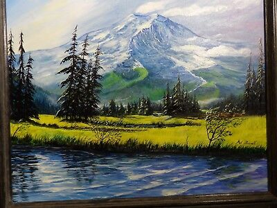Beautiful Mount Rainier Acrylic Painting 16x20 Original MASTERPIECE