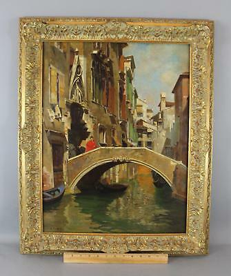 Antique Signed Italian Venetian Canal Bridge Gondola Impressionist Oil Painting