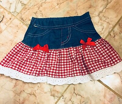 NANETTE Baby Girl Skirt Size 12 Months, Red, White, Denim, Eyelet Trim NWT ADORB