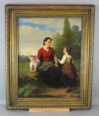 19thC Antique Dutch Genre O/C Oil Painting, JAN WALRAVEN, Mother & Children