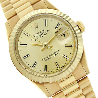 4a06e8cc93c Rolex Ladies Datejust 69178 18K Yellow Gold President Band Champagne Stick  Dial