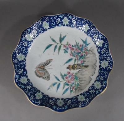 Nice Lg Antique Chinese Famille Rose Footed Bowl, Butterfly, Bird, 19THC