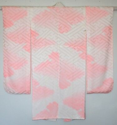 Japanese Vintage Young Unmarried Woman's Formal Silk Kimono Pink White