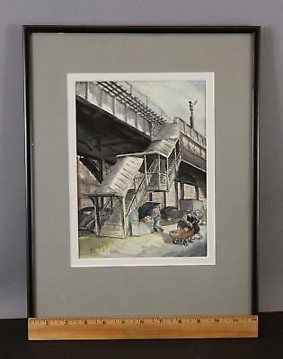 Original R WILSON American Social Realist Watercolor New York Elevated Railroad