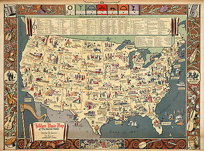 1931 Folklore Music Map of the United States Wall Art Poster Decor History Print