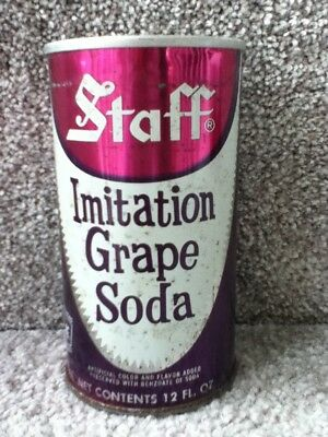 Staff Grape Soda.(70's) Straight steel, pull top. No bar code or ml listed.