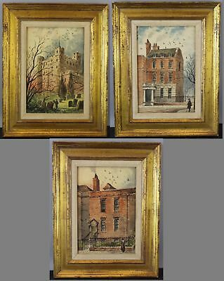 3 Antique Charles Dickens English Buildings Paul Braddon Watercolor Paintings NR