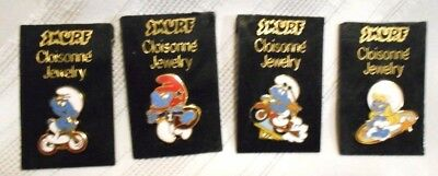 SMURF 1981 Cloisonne' Jewelry Lot of 4 New on Card Wallace Berrie- Peyo