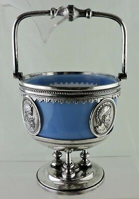 Antique Silver Plated Basket/dish Opaque Blue Glass Insert Roman Coin/medallion