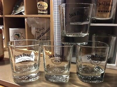 JACK Daniel's 4 Embossed Whiskey Glass Low Ball Old No. 7