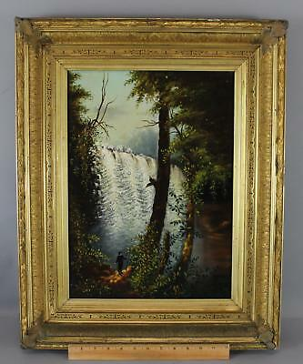 Antique Hudson River School Folk Art Waterfall Oil Painting, Gold Gilt Frame