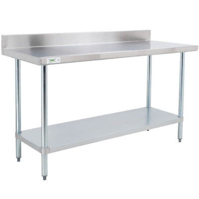 "30"" x 72"" Stainless Steel NSF Commercial Kitchen Work Table with 4"" Backsplash"