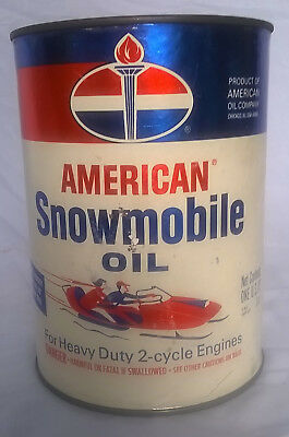 American Snowmobile Motor Oil 1 Quart Can Man Cave! Vintage Original- Full