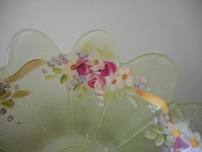 Charming antique or vintage hand painted pale green glass bowl