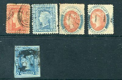 New South Wales 1853 To 60 Selection Of 5 Nice Stamps Fu
