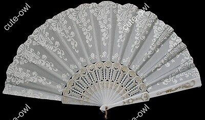 Christmas gift Elegant Women's White Silk Brocade Floral Folding Hand Fan