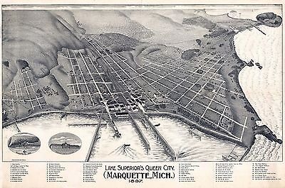 1897 MARQUETTE old MICHIGAN map GENEALOGY atlas  poster QUEEN CITY county MI 19