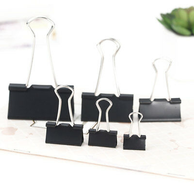 12Pcs Black Metal Binder Clips File Paper Clip Stationary Office Supplies