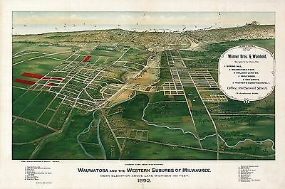wi60 Antique old map WISCONSIN genealogy family history WAUWATOSA MILWAUKEE 1892