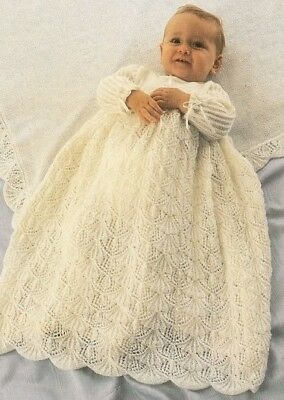 Baby Knitting Pattern Copy for Christening Dress & Shawl in 3 Ply