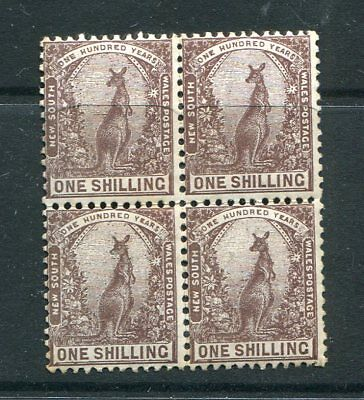 New South Wales 1905 1S Kangaroo Block Of 4 Fine Sg347 Muh